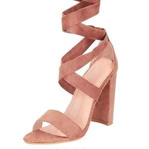 Nude/mauve wrap up heels